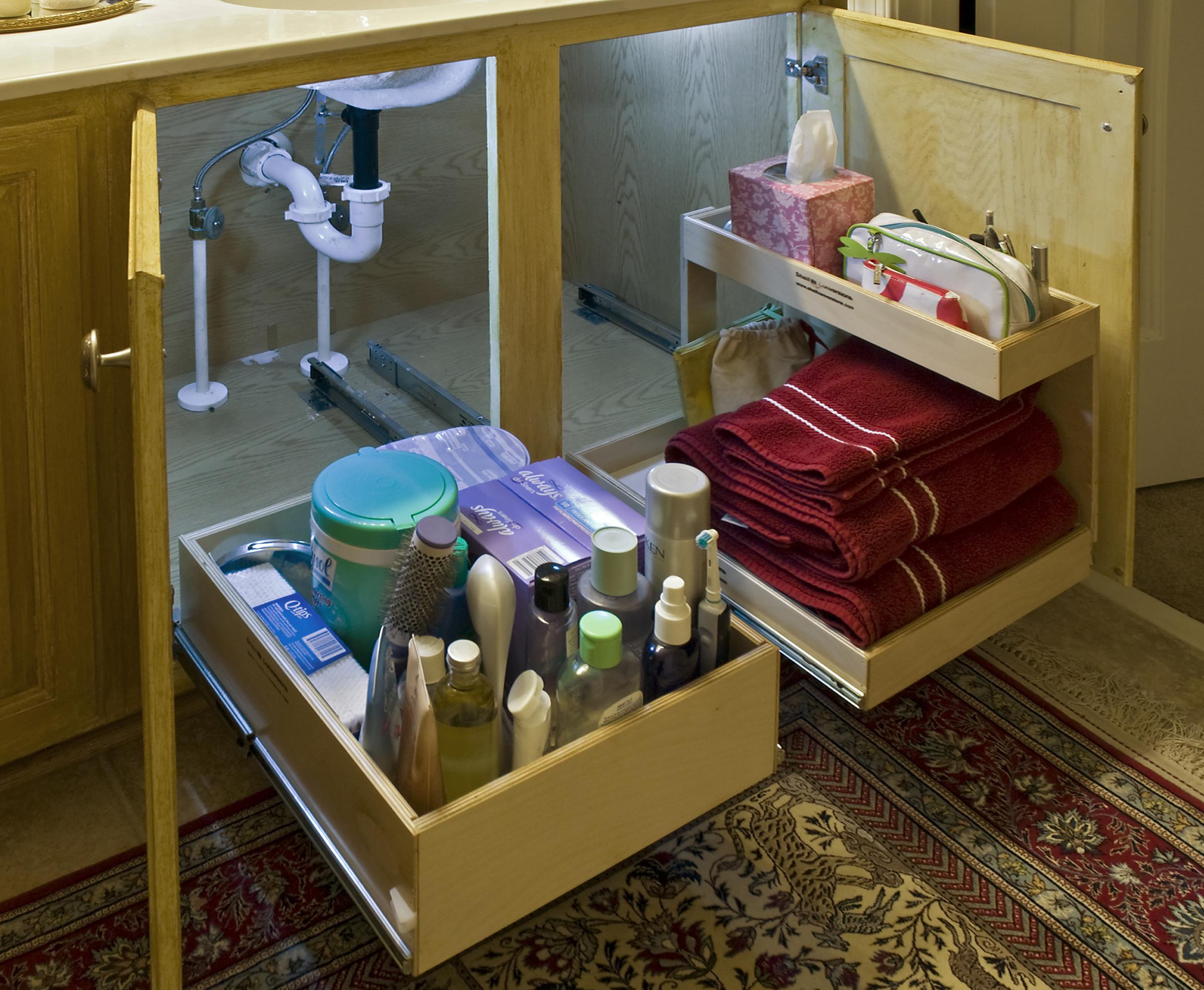 Under Kitchen Sink Cabinet Under sink sliding organizer sink ideas kitchen s bathrooms workwithnaturefo
